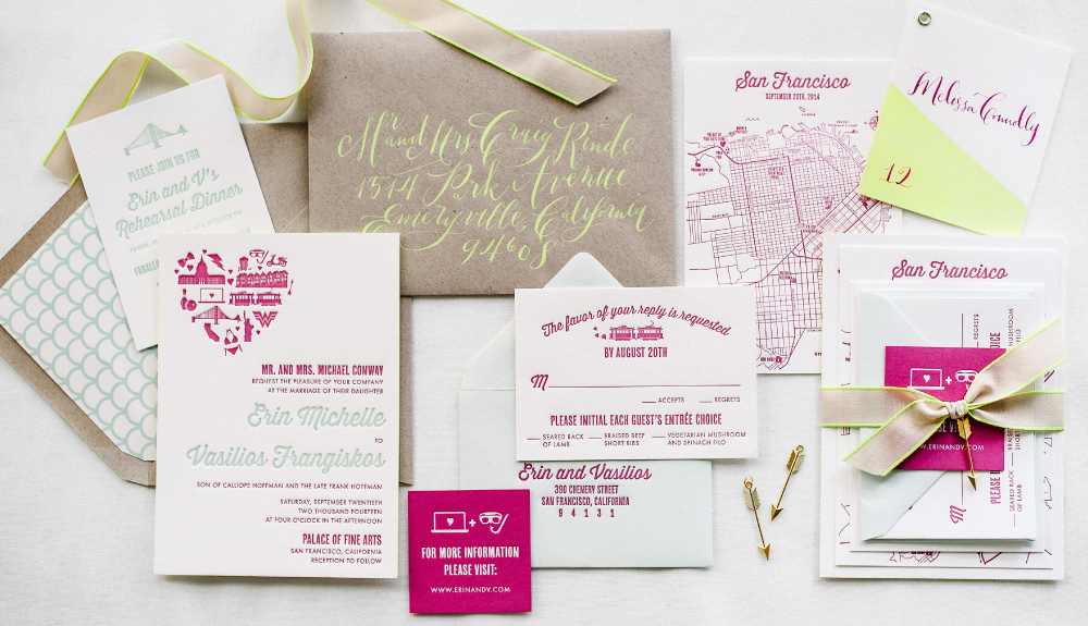 Fun and quirky custom letterpress invitation suite for a tech-loving couple from San Francisco with bright calligraphy and neon accents