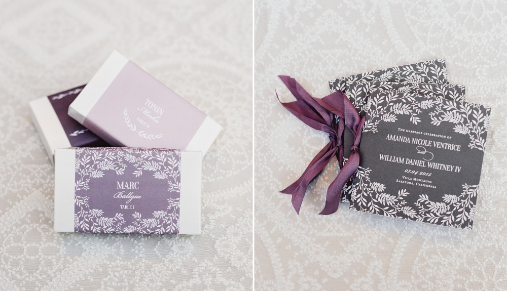 Feminine and floral wedding day papers, including ribbon bound program in gray with white foil at Villa Montalvo