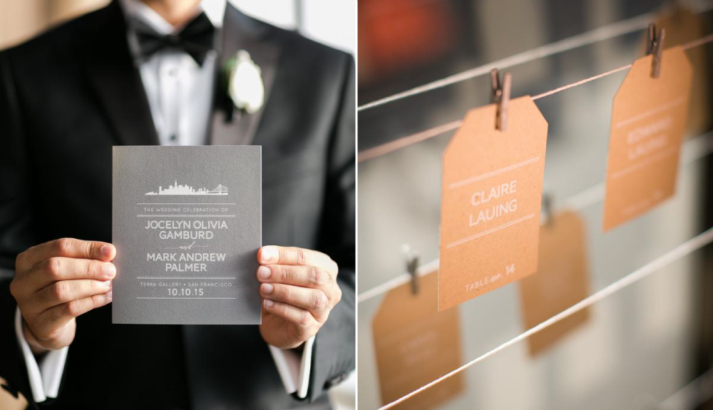Modern, San Francisco inspired wedding program and kraft escort card tags for a city wedding at Terra Gallery