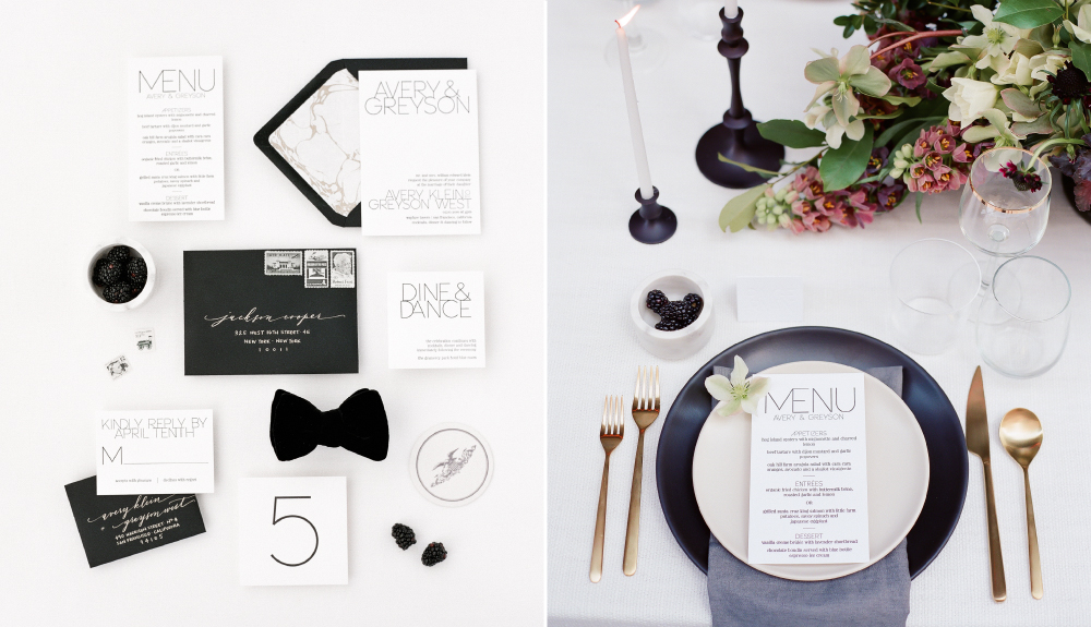 Modern, black and white letterpress wedding invitations with marble envelope liner and calligraphy