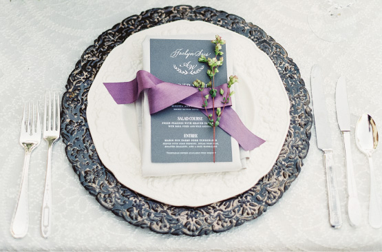 Wedding Menu with purple ribbon | Elegant, Classic, Calligraphy