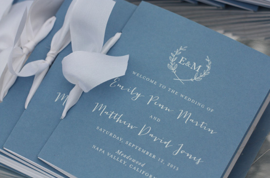 Monogram White Foil with White Ribbon Booklet Wedding Programs
