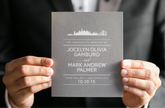 San Francisco Sklyine Warm Gray Typographic Wedding Program