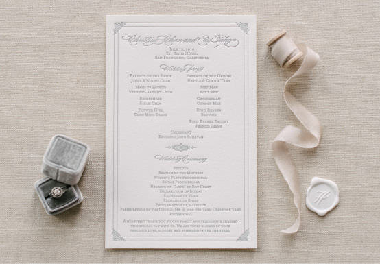 Anatomy of a Wedding Program