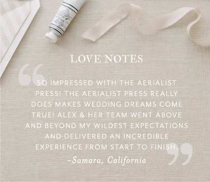 Note from one of our favorite brides