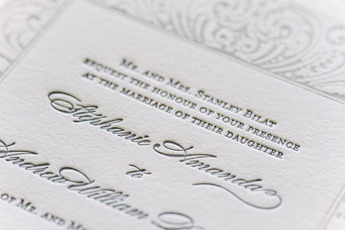 Darcy Letterpress Wedding Invitation | Classic + Vintage