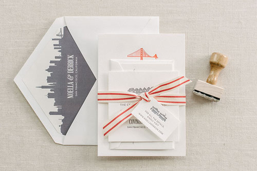 GoldenGate Letterpress Wedding Invitation | Modern + Destination