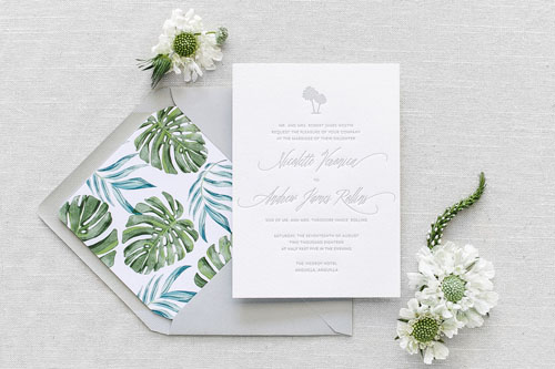 Riviera Letterpress Wedding Invitation | Destination