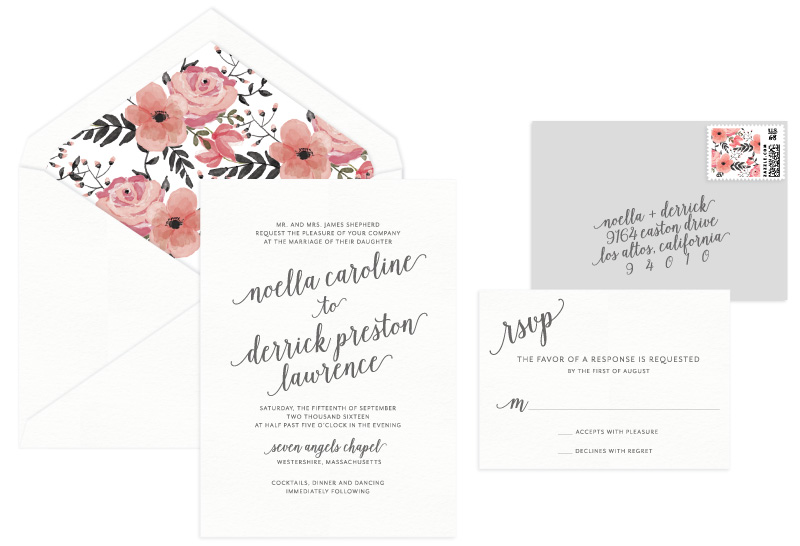 Audrey Letterpress Wedding Invitation | Modern + Whimsical