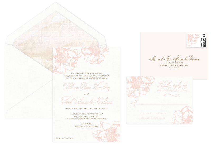 Blush Letterpress Wedding Invitation | Classic + Rustic