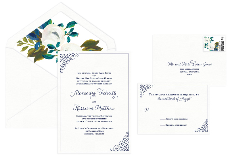 Clare Letterpress Wedding Invitation | Classic + Vintage