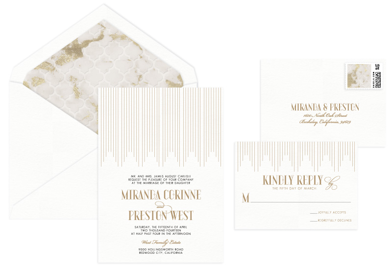 Empire Letterpress Wedding Invitation | Classic + Modern