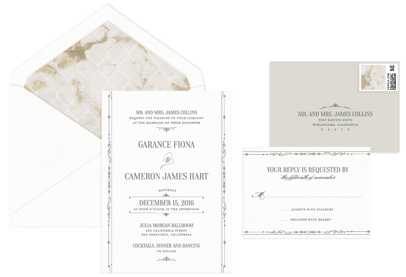 Mayfair Letterpress Wedding Invitation | Classic + Vintage