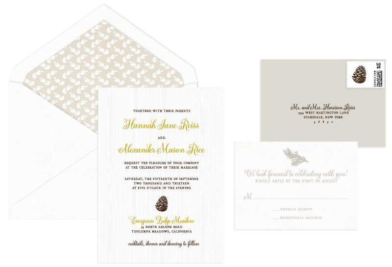 Tuolumne Letterpress Wedding Invitation | Classic + Vintage