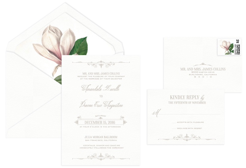 Waldorf Letterpress Wedding Invitation | Classic + Vintage