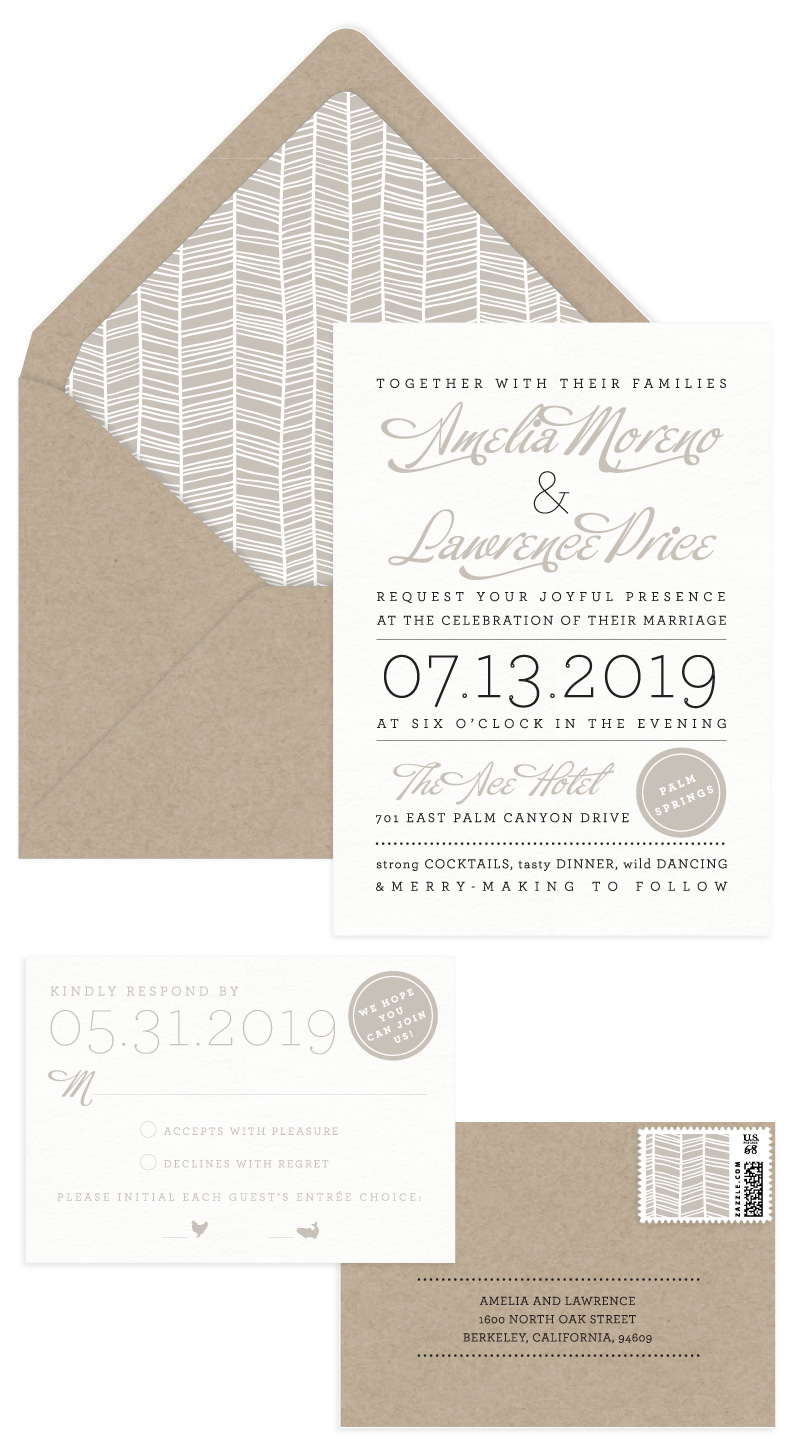 Ace Letterpress Wedding Invitation