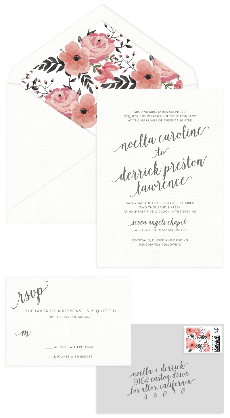 Audrey Letterpress Wedding Invitation