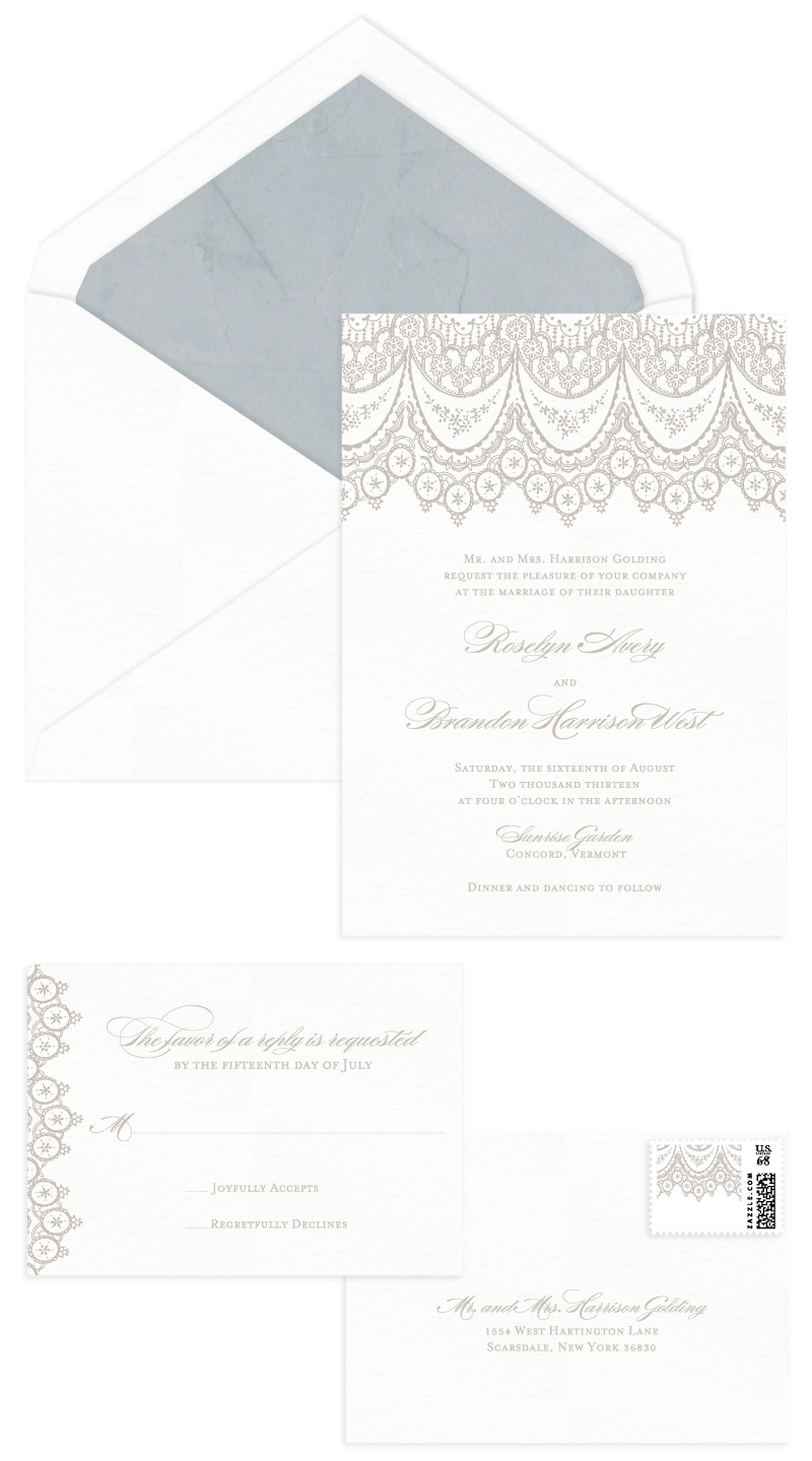 Chantilly Letterpress Wedding Invitation