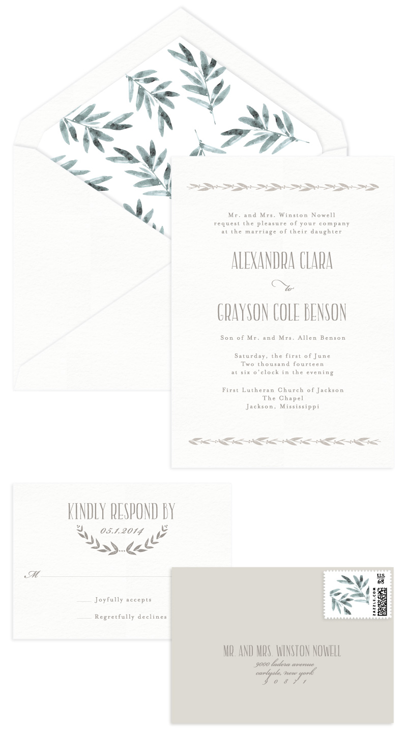 Coronet Letterpress Wedding Invitation