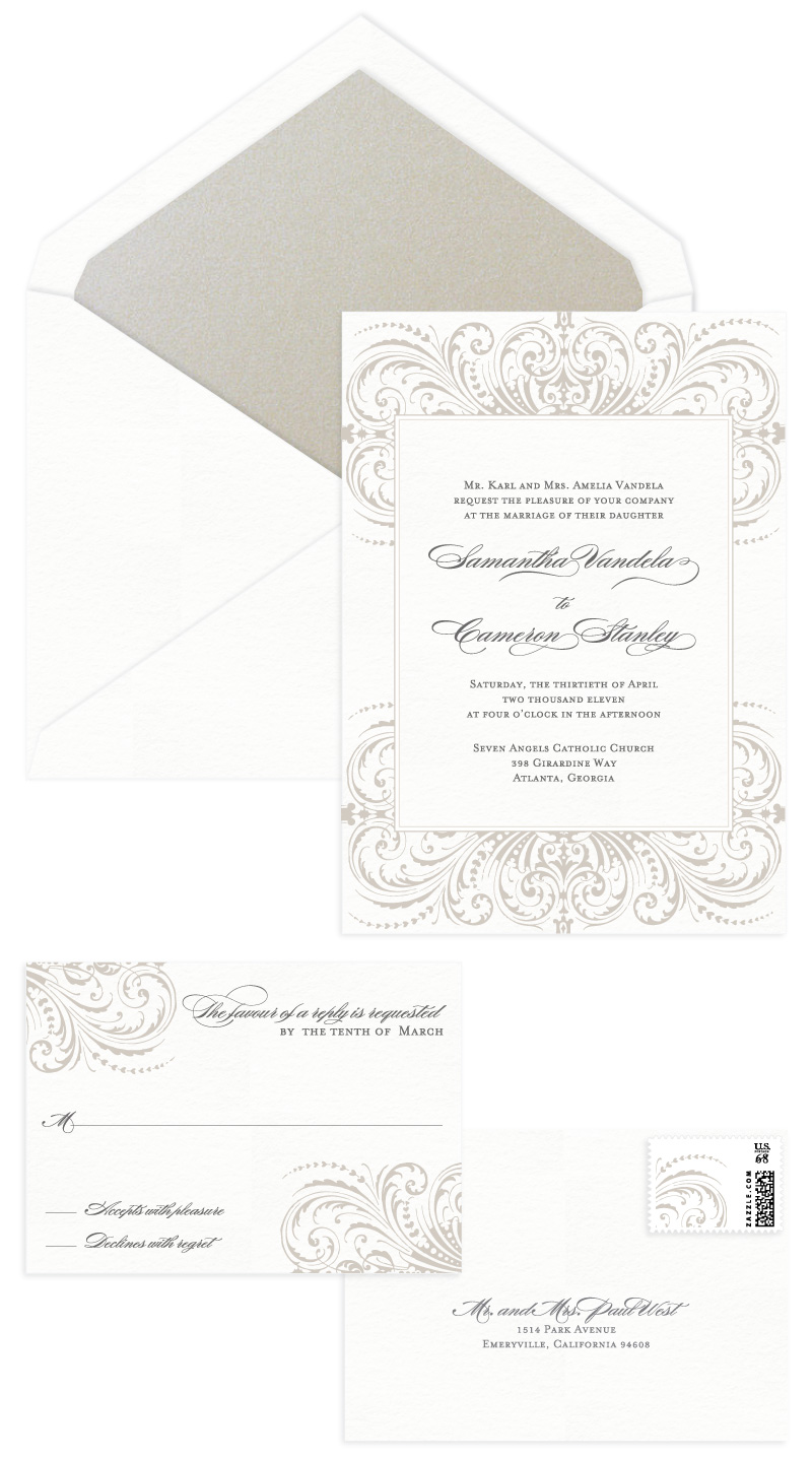 Darcy Letterpress Wedding Invitation