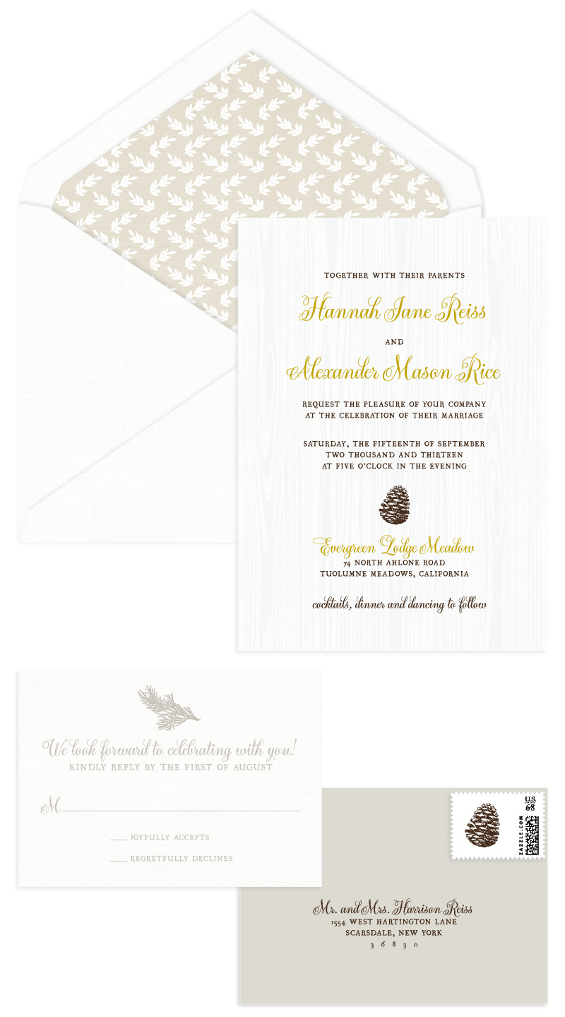 Tuolumne Letterpress Wedding Invitation