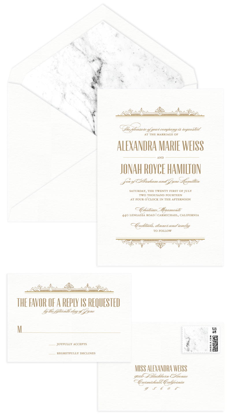 Windsor Letterpress Wedding Invitation