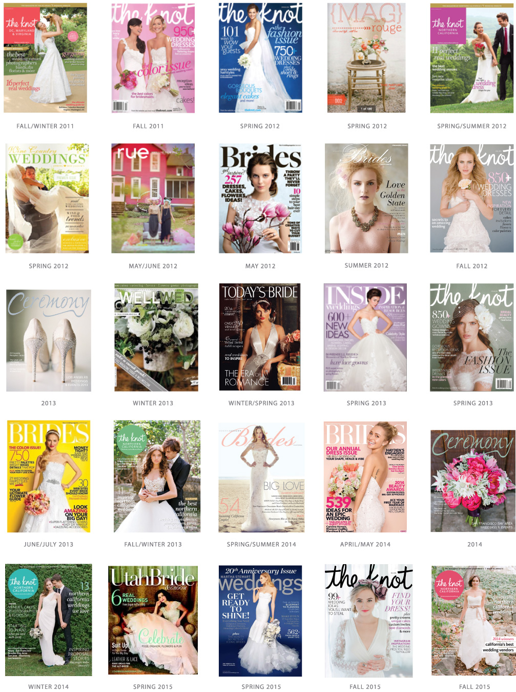Magazine Articles | The Knot, Brides Magazine, Rue, Martha Stewart Weddings